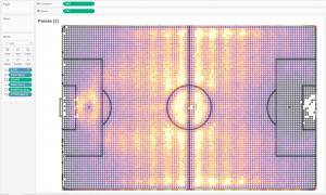 Тепловая карта футбольных пасов в Tableau